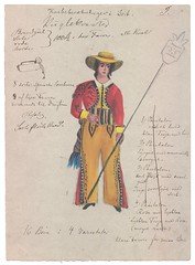 """Spansk"" kostume (Rigsarkivet - Danish National Archives) Tags: costumes drawing theatre aquarel teater kostumer kostumetegninger"