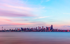 Seattle (KPortin) Tags: seattle skyline sunset water clouds elliottbay spaceneedle skyscraper