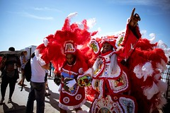 Mardi Gras Indians Big Chief and Big Queen at the New Orleans Jazz and Heritage Festival on Sunday, April 29, 2018