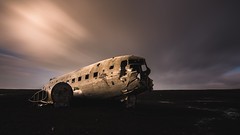 Down (modesrodriguez) Tags: plane iceland crash dc3 landscape blacksand beach orange travel ruin metal