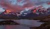 Wonderful Morning of Pehoe Lake, Chile (beautifullcreatures) Tags: chile cloud colorfulclouds pehoe lake water mountain mountains island bridge dawn stone peaks surround light patagonia