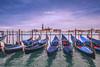 Venezia_0158_Gondole (ivan.sgualdini) Tags: italy night seaitaliano campanile city cloudy dusk gondola italia light mood sangiorgio sea venezia venice veneto it
