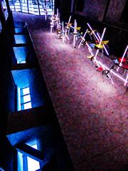 Light It Up (Steve Taylor (Photography)) Tags: art design digitalart chair ceiling artgallery blue contrast red yellow mauve purple odd strange wire newzealand nz southisland canterbury skylight christchurch bebop billculbert chairs christchurchartgallery fluorescentlighting furniture gallery lightart texture pattern glow