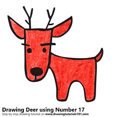 Deer using Number 17 (drawingtutorials101.com) Tags: deer using number 17 animals with numbers animal draw drawing drawings color colors coloring how sketch pencil pencils speeddrawing