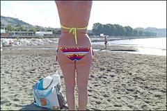 (Exile On Mappatella Beach) (Robbie McIntosh) Tags: leicam9p leica m9p rangefinder streetphotography 35mm leicam autaut candid strangers leicaelmarit28mmf28iii elmarit28mmf28iii elmarit 28mm seaside woman belly tan naked mappatellabeach bikini swimsuit streetsincolor