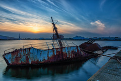 Wrecked in Wallasey (gmorriswk) Tags: cloudscape clouds reflections reflection longexposure landscape seascape 06ndsoftgrad 30 firecrest formatthitech sunset wreck boat sarsia birkenhead england unitedkingdom gb