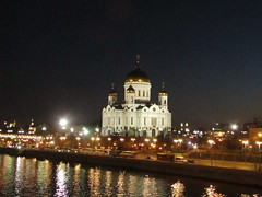 main cathedral of Russia (VERUSHKA4) Tags: hccity darkness lights lighting dome cupolas church cathedral canon europe russia moscow moskvariver eau vue view quai bankofriver spring april springtime historic decor architecture gold reflection colourful wetreflection farole perspective
