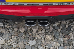Exhaust (syf22) Tags: car vehicle automobile auto autocar automotor motor motorcar motorised sportcar transport carriage germanmade madeingermany porsche porscheclubgb porscheclubgbregion2 flatsix flat6 6cylinders boxster porscheboxster red guardsred softtop convertible opentop midengine arse ass tail rear rearend back backend bottom exhaust exhaustpipe twin wheel watercool scotland gtm grampiantransportmuseum alford aberdeenshire stainless steel shiny