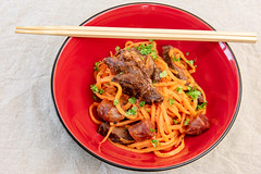 Anzac day dinner. Sous vide kangaroo and lup cheong with bolognese sauce and sweet potato noodles. (garydlum) Tags: kangaroo lupcheong bolognesesauce belconnen australiancapitalterritory australia au sweetpotato