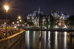Hotel de Ville and Seine River at night (Dmitry Yelloff) Tags: apartments architecture building capital center city crossroads estate europe european exterior french homes illuminated lights many night nightlife old outdoor paris parking street streetlight tourism town travel view streetlamp national culture embankment cityhall cars quay seineriver stone hoteldeville quaiauxfleurs parcdesrivesdeseine