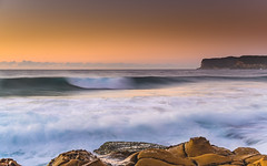 Sunrise Seascape with Wave (Merrillie) Tags: daybreak sunrise northavoca nature water rocks centralcoast morning newsouthwales waves earlymorning nsw sea avocabeach ocean rocky landscape northavocabeach coastal waterscape sky seascape australia coast dawn outdoors