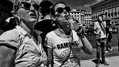 Ramones. (Baz 120) Tags: candid candidstreet candidportrait city candidface candidphotography contrast street streetphoto streetphotography streetcandid streetportrait sony a7 fullframe rome roma romepeople romestreets europe women monochrome mono monotone noiretblanc bw blackandwhite urban life primelens portrait people pentax20mm28 italy italia grittystreetphotography decisivemoment faces strangers