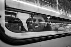 Encounter with a stranger (Frederik Trovatten) Tags: eyecontact candid candidphotography fuji fujifilm x100f blackandwhite blackandwhitephotography streetphotography street photo streetphoto subway metro reflection stranger subwaystation station black white