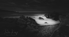 Bossington Waves (PKpics1) Tags: water sea seascape rocks blackwhite bw landscape waves bossington clouds sky somerset