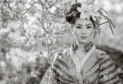 White Beauty (VipMediaStar) Tags: black white d850 nikon 105mm geisha flower bokeh garden kimono