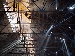 Chollima Steel Complex, North Korea (TeunJanssen) Tags: chollima steel complex sunlight ray rays smoke roof factory nampo northkorea dprk korea asia travel traveling worldtravel backpacking olympus omd omdem10 light sun industry hangar