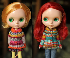 (Ulanna) Tags: blythe knitting handmade outfit clothes sweater cardigan pullover eblblythe fruitpunch rougenoir