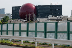 Red Rubber Ball (kasa51) Tags: building architecture fence pole wire tokyo japan
