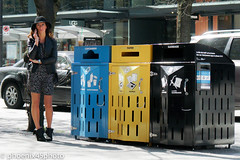 Recycling decisions? (phoenix45photo) Tags: recycling garbage streetphotography street vancouver disposal starbucks ootd fashion hat boots style streetstyle candid choices pleasecall smartphone cityofvancouver recycle