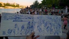 Tango Illegal quai de Seine (C.PARR) Tags: art sketch urban quaisdeseine paris parrini panorama people