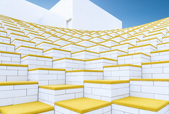 Yellow Bricks (RFuhlendorf) Tags: arkitektur legohouse architecture yellow white building skyes contrast color colorful shapes lego billund denmark jutland bricks minimalism creative minimalistic