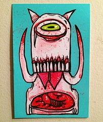 Demon (pickledpunk) Tags: monsterart entrails guts skull cyclops lowbrowart artbrut tusks fangs vampire demon monster
