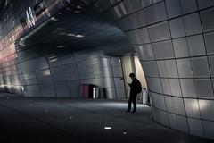 Waiting for the Future (Dan Portch) Tags: night nightscape nighttime street building city architecture zaha hadid dongdaemun design plaza ddp seoul south korea buildings dark future silhouette