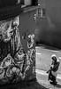 Petit. (Canad Adry) Tags: paris pyrénées carl zeiss jena tessar 50mm f28 black white noir et blanc street artist art sun light shadow corner coin collage giant small vintage old classic prime manual lens alpha