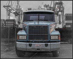 Mack In The Port (Ernie Misner) Tags: f8andkissthelittlebulldog macktruck bulldog portoftacoma tacomawa erniemisner nikon70200e 70200 ship crane longshoreman lightroom nik topazstudio capturenx2 cnx2