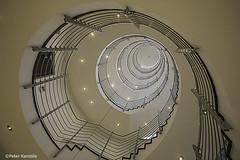 Hamburg - Zürich Haus (peterkaroblis) Tags: hamburg treppenhaus staircase treppen stairs gebäude buildings architektur architecture innenarchitektur interieur interiorarchitecture interiordesign lines curves linesandcurves geometry geometrie