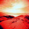 Dante's View (Redscale) (EmperorNorton47) Tags: deathvalleynationalpark california photo analog spring squareformat film landscape holga redscale dantesview mountain drylake desert overlook nationalpark nps monochrome unesco worldheritagesite