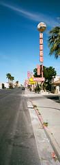 Desert Moon Motel (Travis Estell) Tags: desertmoonmotel ektar100 hasselbladxpanii kodakektar100 lasvegas lasvegasonfilm nevada nevadaonfilm thedarkroom thedarkroomlab xpanii filmpanorama motel motelsign unitedstates us 35mmfilm