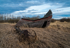 Windswept (Matt 23998) Tags: wood moss decay old farmhouse rural star weathered clouds spring ghosttown red abandoned grass ruins westerncanada farmyard alberta dilapidated sky canada farmstead deserted evening farm