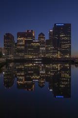 Canary Wharf (babell4321) Tags: london city canarywharf beverleybell 2018 water buildings reflections bluehour londonbuildings londonatnight architecture sunset hsbc barclays longexposure skyline skyscraper blackwellbasin