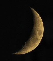 Crescent Moon (clarkcg photography) Tags: moon crescent phase lunar mystical time clock signs age month 28days cycle craters pits circles moonlight orb