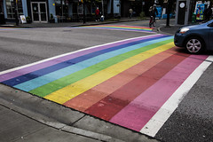 "120/365 Canada's First Permanent Rainbow Crosswalk (unveiled in 2013) (ruthlesscrab) Tags: wah ""we'rehere"" hereios ""365the2018edition"" 3652018 ""day120365"" 30apr18 stripe rainbow lgbtq crosswalk davie ""westend"" vancouver bc canada"