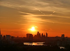 London at Sunset from Greenwich (Waterford_Man) Tags: london sky orange trails city england sunset