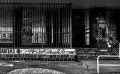 """Urban Decay"" (giannipaoloziliani) Tags: paint periphery iphone iphonephotography streetphotography suburbsexpressions written bars scool suburbs italy italia ruins urbandecay urbanstreet urbanexplorer decay biancoenero monochrome monocromatico blackandwhite graffiti genova genoa"