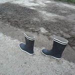 161 - AIGLE Wellworn Wellies filled with mud ( Rubberboots Gummistiefel Laarzen thumbnail