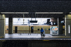 Passing Time (OzGFK) Tags: d800 japan nagano nikon people shinkansen sigma24mmart bullettrain cold platform snow snowing station streetphotography trainplatform trainstation transport travel wanderlush winter