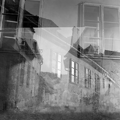 Eyes wide shut (Bernád Rozália) Tags: analoque film bw yashicamat124g ilforddelta100pro ilfosol3 epsonv700 scan selfdeveloped medieval fortress sighisoara multiexposure