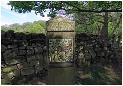 Decorative plaque near Greenwell, 7 May 18. (gillean55) Tags: canon powershot sx60 hs superzoom bridge camera north cumbria brampton gelt woods greenwell plaque