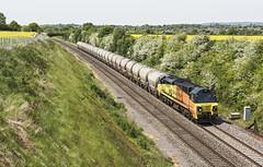 Cement Tanks at Flax Bourton (powern56) Tags: bristol northsomerset flaxbourton 6b36 colas colasrailfreight class70 70816 freighttrain cementtanks railway train diesellocomotive