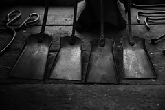 Vintage bench (sarah_presh) Tags: forge blacksmith tools dark moody mono monochrome bench workshop papplewick pumpingstation mansfield uk england historic old vintage nikond750 light window lowkey shovel