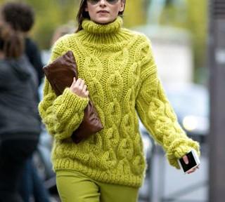 Modern women in cabled knitwear