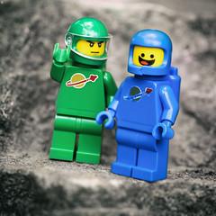 Spacemen (jezbags) Tags: spaceman spacemen green blue planet rock lego legos toy toys canon canon80d 80d 100mm closeup upclose vispr visor helmet oxygen macro macrophotography macrodreams macrolego