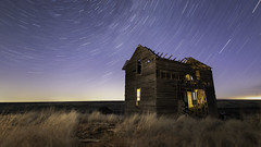 Trailing Away 052018 (Flint Roads) Tags: ione lll or oregon usa abandoned decay deteriorated field forsaken house lightpainting night nightsky old rural startrails stars windows