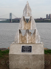 """Sails"" Holocaust Memorial Sculpture (2017) by Ephraim Peleg, Veterans Park, Edgewater NJ (jag9889) Tags: 07020 2018 20180504 art artwork bergencounty bridge bridges bruecke brücke crossing edgewater gw gwb gardenstate georgewashingtonbridge holocaust hudsonriver infrastructure k007 kunst memorial nj newjersey outdoor plastik pont ponte puente punt river sculpture skulptur span structure suspensionbridge usa unitedstates unitedstatesofamerica veteranspark water waterway jag9889 zip07020"