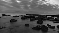 Rocky Dawn Seascape in Black and White (Merrillie) Tags: daybreak theskillion australia blackandwhite nature water terrigal nsw rocky sea clouds newsouthwales rocks earlymorning morning landscape centralcoast ocean monochrome sunrise waterscape coastal outdoors sky seascape dawn coast cloudy waves