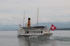 Dampfschiff DS Savoie ( Baujahr 1914 - Länge 68 m - 690 Personen - CGN Compagnie Générale de Navigation sur le lac Léman - Schaufelraddampfer Salondampfer ) auf dem Genfersee bei Nyon im Kanton Waadt - Vaud in der Westschweiz der Schweiz (chrchr_75) Tags: christoph hurni chriguhurni chriguhurnibluemailch chrchr april 2018 chrchr75 schweiz suisse switzerland svizzera suissa swiss genfersee lac léman dampfschiff schiff fahrgastschiff ship bateau westschweiz romande hurni180428 alpensee see lake sø järvi lago 湖 landschaft landscape natur nature albumgenferseelacléman wasser eau water albumdampfschiffegenfersee